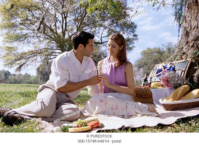 Young couple sitting together at a picnic