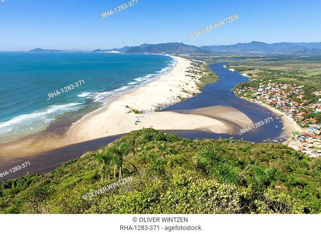 Elevated view from Urubu Rock over Guarda do Embau, Santa Catarina, Brazil, South America