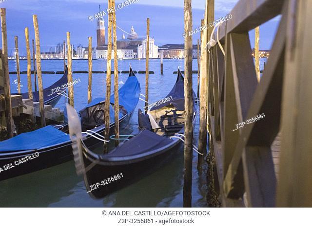 Venice, Veneto, Italy : San Giorgio Maggiore from the bridge of sights
