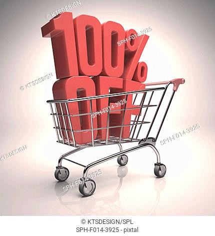Shopping trolley with 100 per cent off sign, illustration