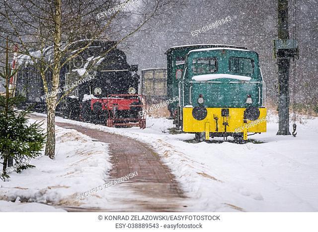 Old locomotives on Bialowieza Towarowa former railway station in Bialowieza village located in the middle of Bialowieza Forest in Poland