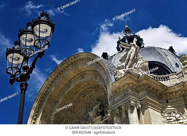 The facade of the Petit Palais, the home of the City of Paris Museum of Fine Arts musée des beaux-arts de la ville de Paris