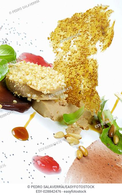 Foie with figs close up