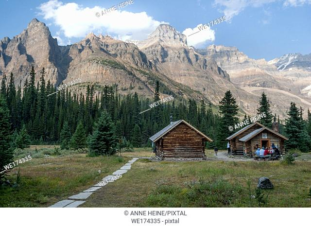 Alpine huts in Canadian Rockies, in the Lake O`Hara area, Yoho National Park