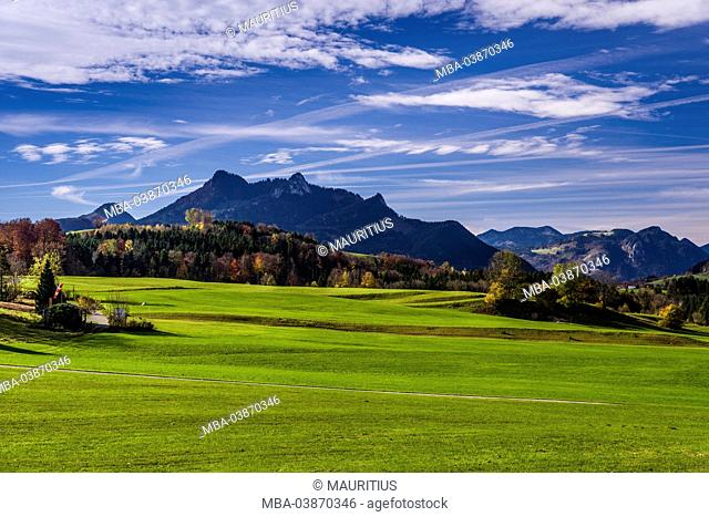 Germany, Bavaria, Upper Bavaria, Chiemgau, Samerberg, Grainbach, autumn scenery in direction to Heuberg