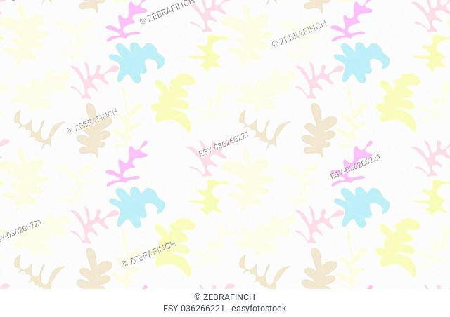 Artistic color brushed pastel leafy shapes.Hand drawn with ink and marker brush seamless background.Abstract color splush and scribble design