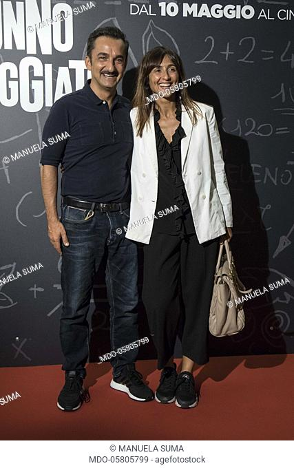 The italian presenter and author Nicola Savino with his wife Manuela Suma at the photocall of the film Tonno Spiaggiato, directed by Matteo Martinez with Frank...