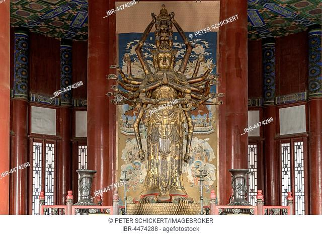 Guanyin statue inside the Tower of Buddhist Incense, Summer Palace, Beijing, China