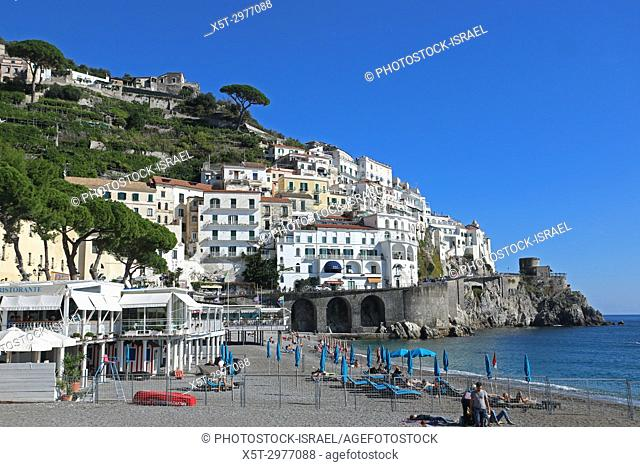 Cityscape and beach of the cliffs of Amalfi, Campania, Italy