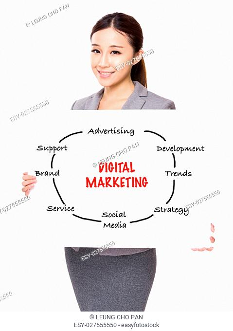 Young businesswoman holding a board showing with digital marketing concept