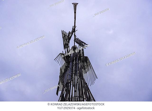 Scultpure of Trumpeting Angel in Chernobyl town, Chernobyl Nuclear Power Plant Zone of Alienation around the nuclear reactor disaster in Ukraine