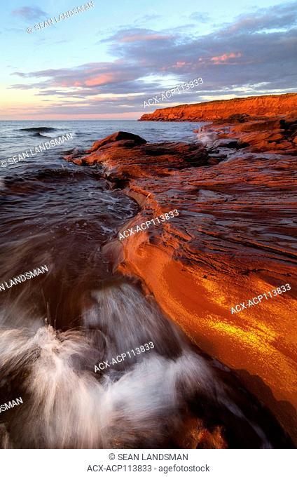 waves, sandstone, cliffs, sunset, Cavendish, Prince Edward Island National Park, Canada