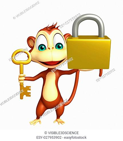 3d rendered illustration of Monkey cartoon character with key and lock