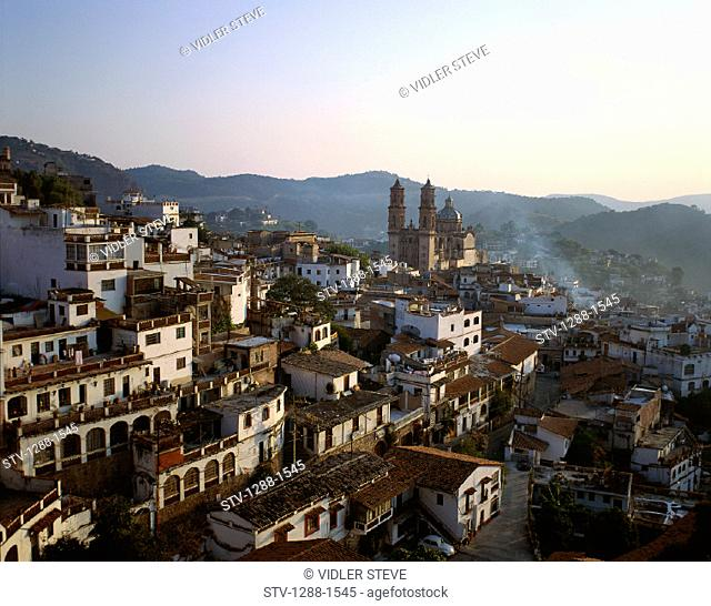 Church, City, Holiday, Landmark, Mexico, Mountains, Prisca, Rooftops, Santa, Taxco, Tiered, Tourism, Town, Travel, Vacation
