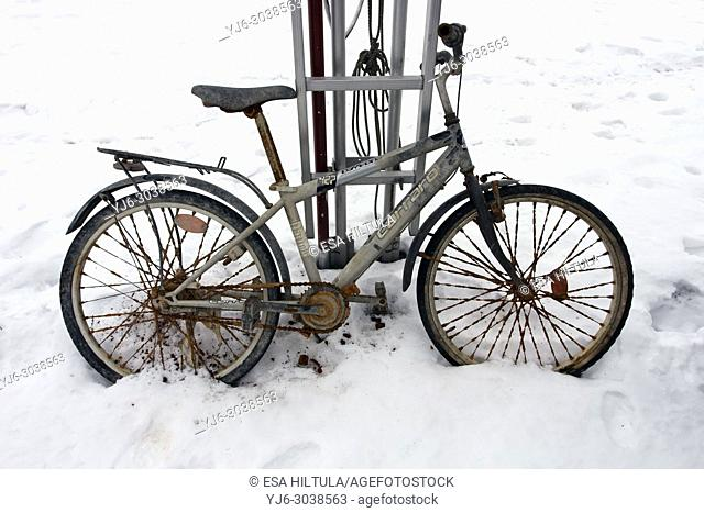 rusty bicycle outdoors