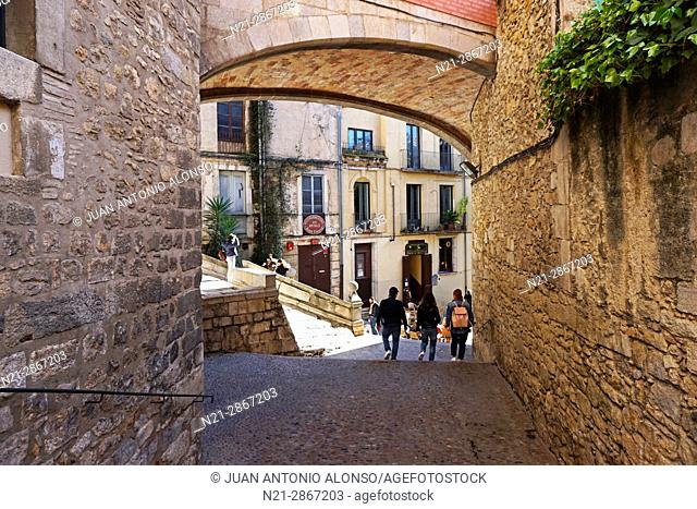 The arch of the Casa Palau de Agullana. Girona, Catalonia, Spain, Europe