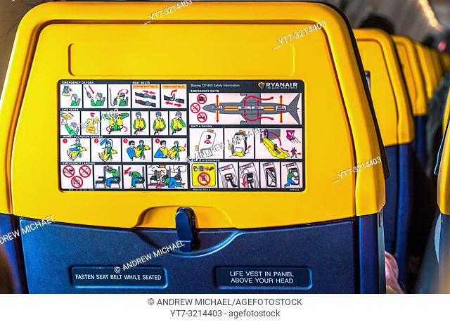 Ryanair aeroplane airplane safety information card printed on the back of a seat