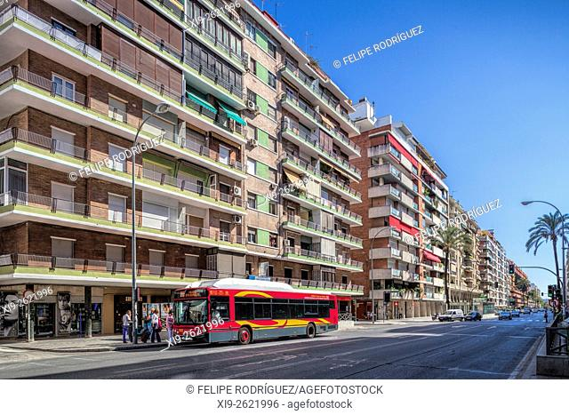 Avenida de la Republica Argentina, one of the main streets on Los Remedios district, Seville, Spain. Los Remedios is a business and middle and upper class...