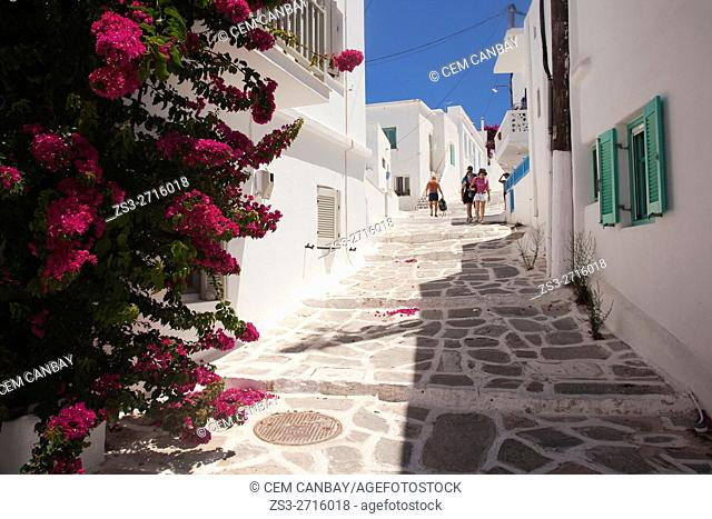 Tourists in the alleys of the town, Naoussa, Paros, Cyclades Islands, Greek Islands, Greece, Europe