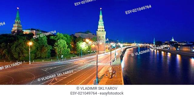 Moscow Kremlin and Kremlin Embankment at night
