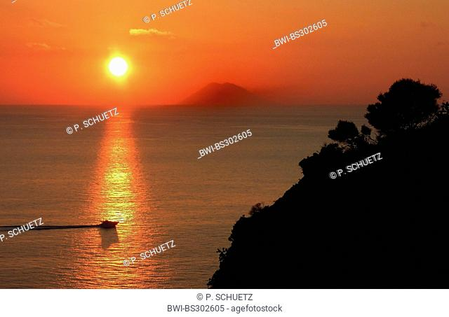 view to Stromboli in sunset, Italy, Calabria