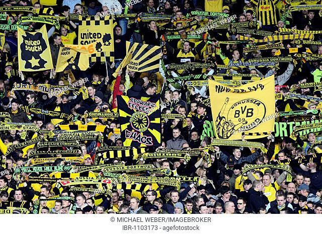 Fans of BVB Borussia Dortmund, spectators, Mercedes-Benz Arena, Stuttgart, Baden-Wuerttemberg, Germany, Europe