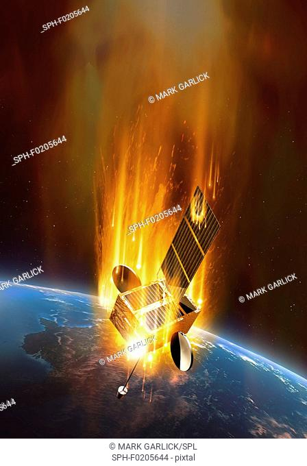 Artwork of satellite and CME