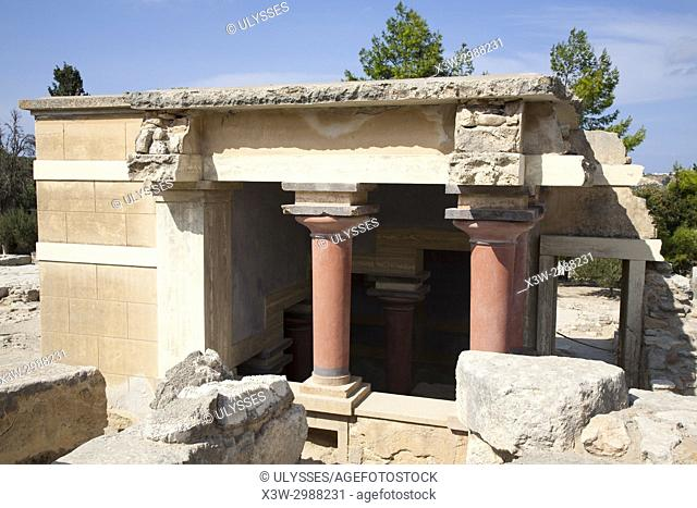 Halls of lustral basin, Knossos palace archaeological site, Crete island, Greece, Europe