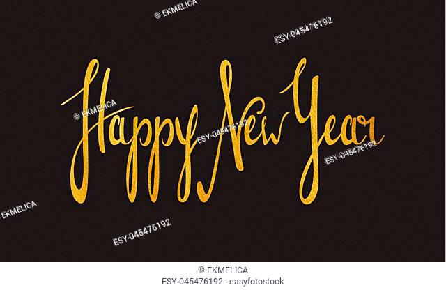 Handwriting calligraphic inscription Happy New Year. Gold textured lettering design element for banner, greeting card, Christmas and New Year card, invitation