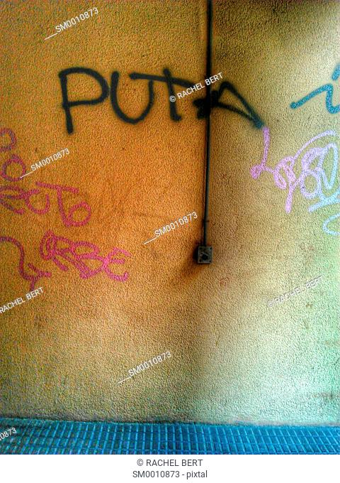 Graffiti, Urban Scene, Clot neighborhood, Barcelona, Catalonia