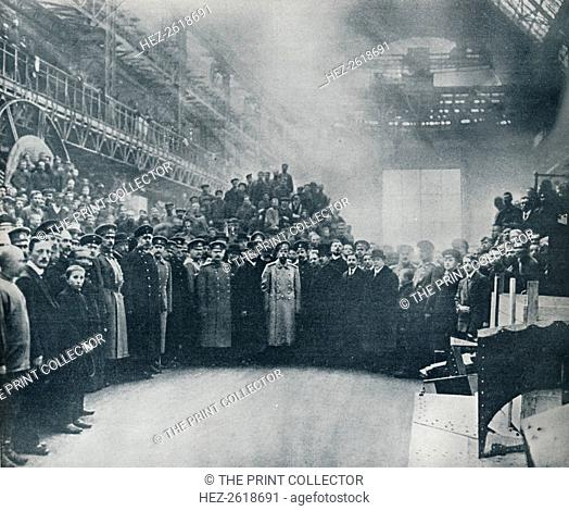 The Czar, taken among the workmen at the great Putiloff Munition and Engineering Works, 1914