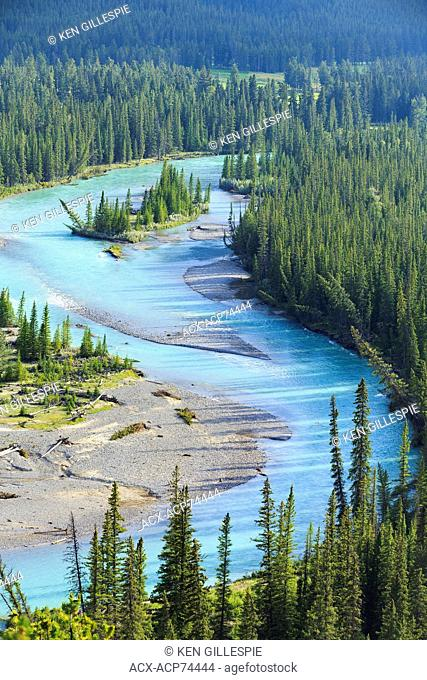 Aerial view of Bow River, Banff National Park, Alberta, Canada