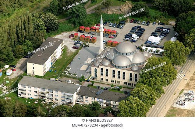 Aerial view, DiTiB Duisburg, Merkez Mosque & Educational Center, Duisburg, Ruhr Area, North Rhine - Westphalia, Germany, Europe
