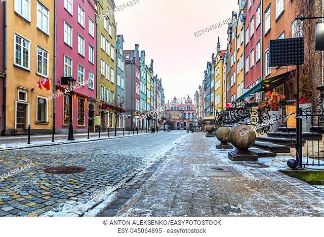 Colorful buildings in Piwna street in Gdansk, Poland