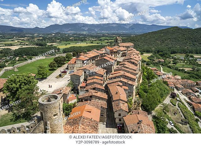 Panoramic view of a small town Frías, province of Burgos, Castile and Leon, Spain
