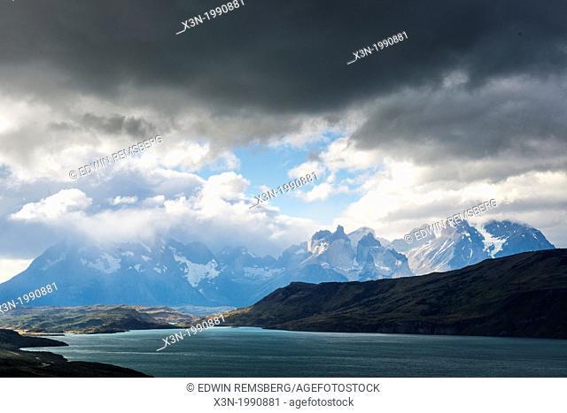 Distant mountain range Torres del Paine National Park Chile