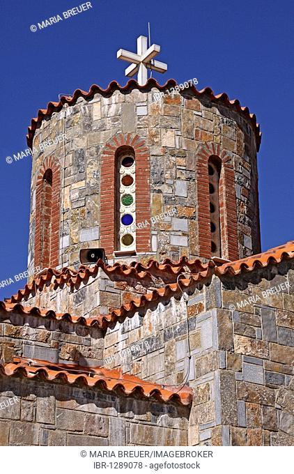 Detail, church steeple, church, mountain village of Axos, Crete, Greece, Europe