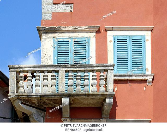 Detail of balcony of Battiala-Lazzarini Palace Museum in old town, Stari Grad, of Labin near Rabac in Istria, Croatia, Europe