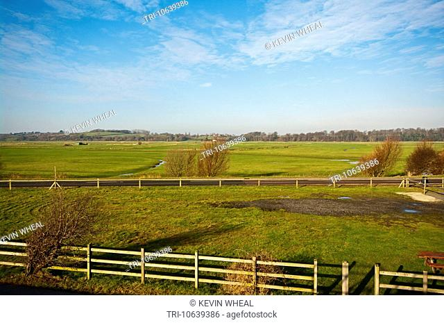 View Over The Marshland at Pett Level and Winchelsea Beach East Sussex England