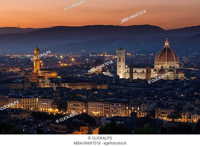 The Duomo of Florence and Palazzo Vecchio at sunset, Florence, Tuscany, Italy, Europe