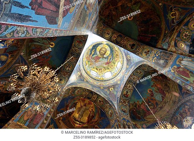 Mosaic of Christ Pantocrator under the central dome. Church of the Savior on Spilled Blood. Saint Petersburg, Northwestern, Russia
