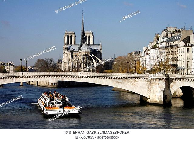 Boat on the Seine and the Notre Dame, Paris, France, Europe