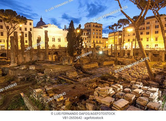 Temple B, dedicated to Fortuna Huiusce Diei. Ancient Rome remains at Largo di Torre Argentina, Rome, Italy