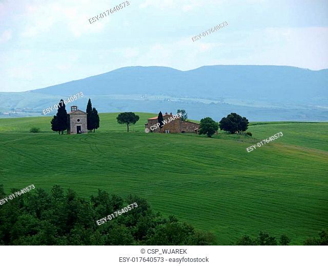 The lonely church Capella de Vitaleta near Pienza, Tuscany