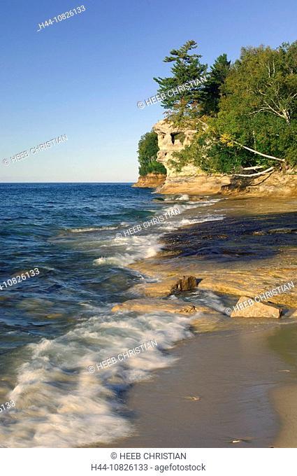 scenery, landscape, brook, stream, mouth, sand, beach, seashore, rock, cliff, shore, lake shore, Lake Superior, Lake S