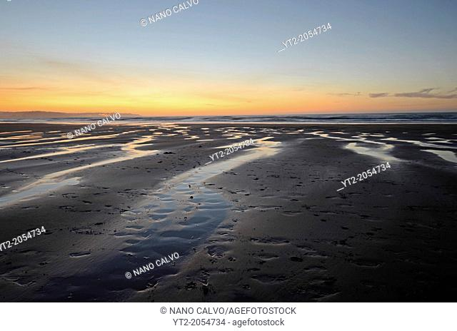 Sunset in Vega Beach (Playa de Vega), Ribadesella, Asturias