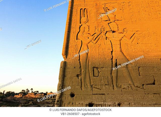 Reliefs of Cleopatra VII and his son with Julius Caesar, Caesarion, at the Temple of Hathor at Dendera. Egypt