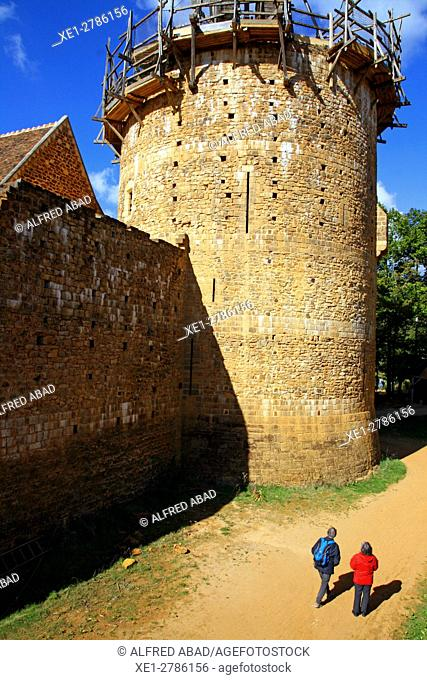 Guedelon castle arrow slit, Stock Photo, Picture And Low