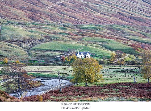 House in remote, rural glen, Glen Lyon, Scotland