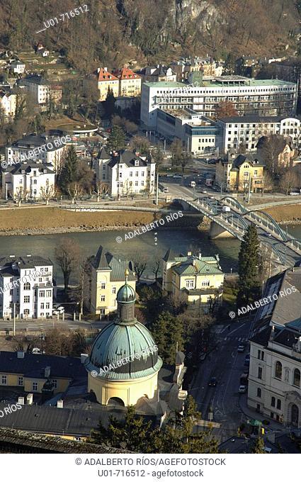 View of St. Kajetan's church from Hohensalzburg Fortress. Salzburg. Austria